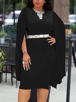 Cape Style Black Long Sleeve Dress For Women