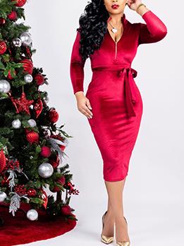 V Neck Solid Velvet Long Sleeve Dress