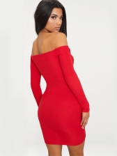 Off Shoulder Drawstring Long Sleeve Bodycon Dress