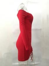 Off Shoulder Drawstring Long Sleeve Bodycon Dress