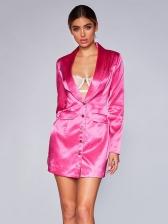 Sexy Long Sleeve Satin Blazer Dress