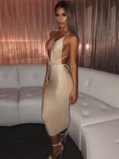 Sexy Deep V Neck Backless Glitter Sleeveless Dress
