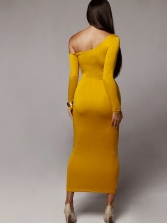 Fashion Inclined Shoulder Long Sleeve Maxi Dress