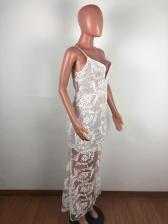 V Neck Gauze Patchwork Fishtail Prom Dress