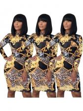 Mock Neck Leopard Fitted Long Sleeve Dress