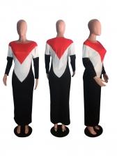 Color Block Long Sleeve Casual Maxi Dress