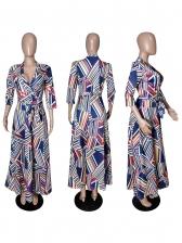 Tie Wrap V Neck Geometric Print Maxi Dress