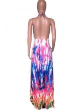 Tie Dye Backless Halter Maxi Dress