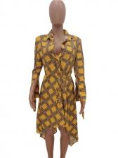 Irregular Hem Tie Wrap Long Sleeve Plaid Dress