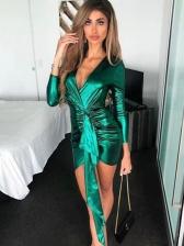 Sexy Tie Wrap Long Sleeve V Neck Mini Dress