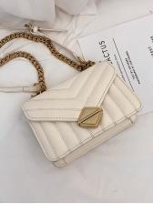 Pure Color V-Shape Thread Golden Chain Shoulder Bag