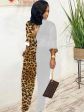 Leopard Printed Long Sleeve Jumpsuit