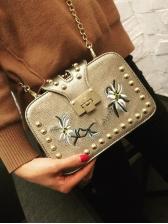 Flower Embroidered Golden Beads Chain Shoulder Bag