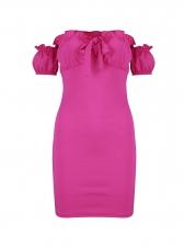 Off Shoulder Rose Red Short Sleeve Bodycon Dress