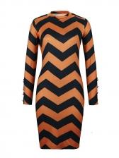 Winter Contrast Color Wave Print Ladies Dress