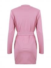 Fashion Irregular Hem V Neck Long Sleeve Wrap Dress