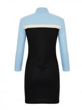 Mock Neck Contrast Color Long Sleeve Bodycon Dress