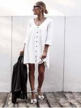 Single-Breasted White Long Sleeve Dress Casual