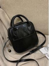 Minimalist Solid Color Pu Shoulder Bag With Handle