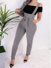 Leisure Lace Up Solid Slim Suspender Pants