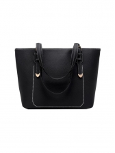 Minimalist Pu Black Large Tote Bags For Ladies