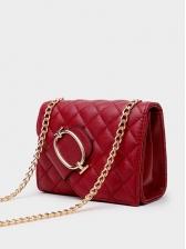 Threads Diamond Pattern Soft Pu Square Chain Bags
