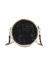 Double Zippers Tweed Patchwork Round Crossbody Bags