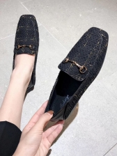 Easy Matching Square Toe Slip On Flats