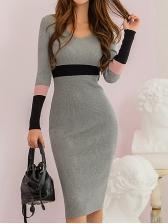 V Neck Skinny Gray Long Sleeve Knit Dress