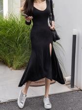 Irregular Split Hem Black Bodycon Midi Dress
