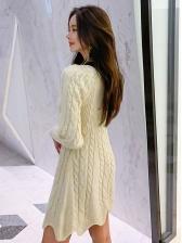 Winter V Neck Beige Long Sleeve Sweater Dress
