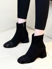 Patchwork Chunky Heel Black Boots