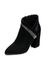 Sequined V Cut Chunky Heel Ankle Boots