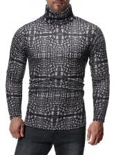 Christmas High Neck Printed Long Sleeve Tee Shirt