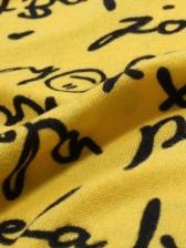 Christmas Letter Print High Neck Long Sleeve T Shirt