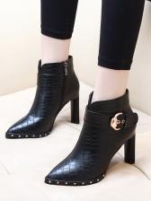 Snake Trellis Buckle Strap Chunky Heel Black Boots