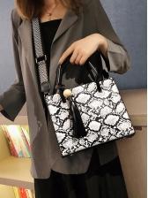 Snake Print Tassel Pendant Shoulder Bag With Handle