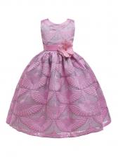 Crew Neck Rose Print Sleeveless Flower Girl Gown