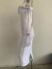 Boat Neck Gauze Draped Short Sleeve Midi Dress