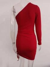 One Shoulder Drawstring Long Sleeve Bodycon Dress