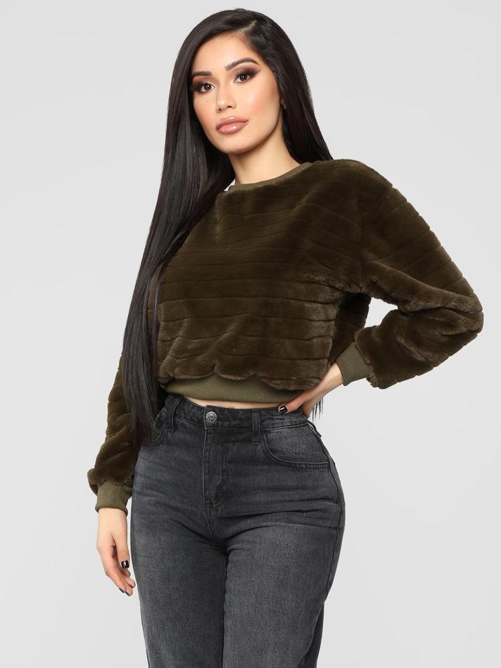 Thicken Velvet Short Sweatshirt For Women