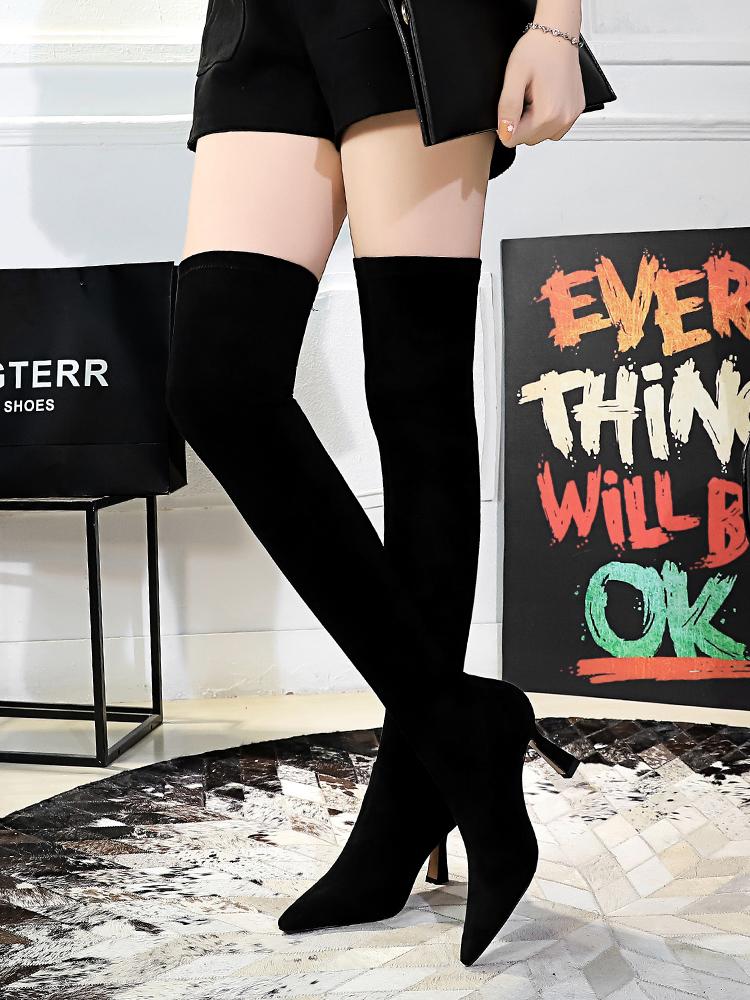 Black Chunky Heel Thigh High Boots