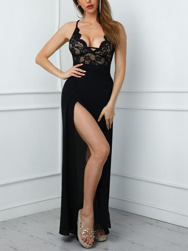 Lace Panel Backless High Split Sleeveless Prom Dress