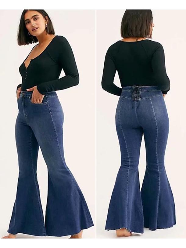 Vintage Back Bandage Bell Bottom Jeans
