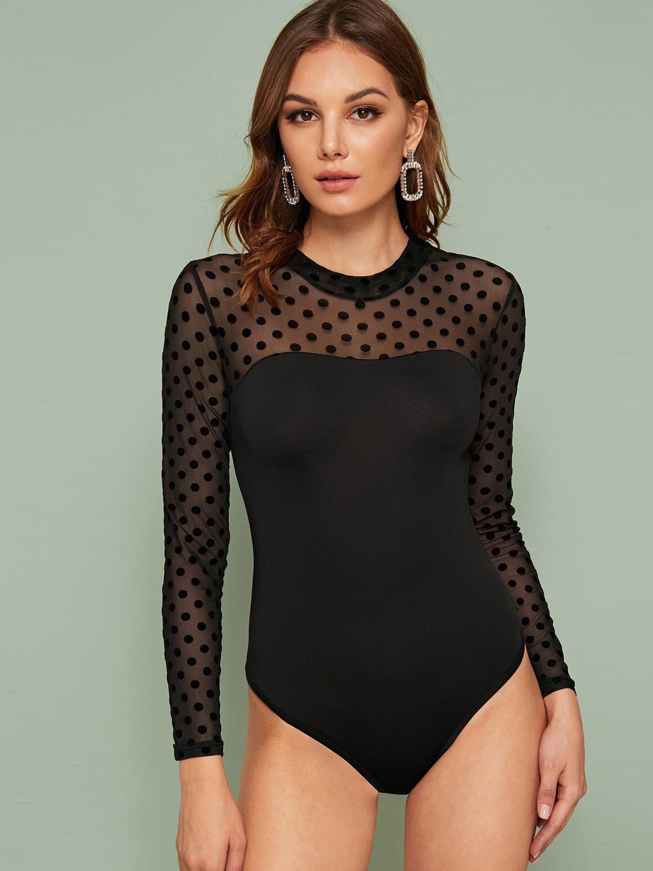Perspective Polka Dots Black Long Sleeve Bodysuit