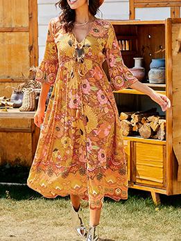 V neck Floral Chiffon Maxi Dress