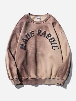 Hip-Pop Letter Print Loose Crewneck Sweatshirt