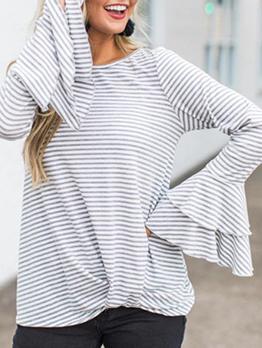 Loose Striped Twist Ruffled Sleeve