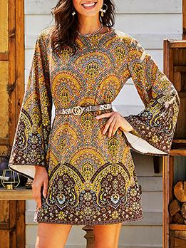 O Neck Flare Sleeve Floral Mini Dress