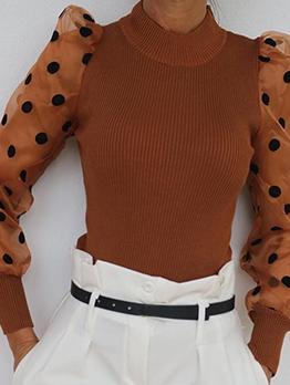 Rib-Knit Patchwork Polka Dot Gauze Sleeves Ladies Blouse